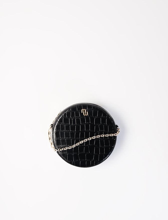 Runde Tasche aus Leder im Krokodil-Stil -  - MAJE