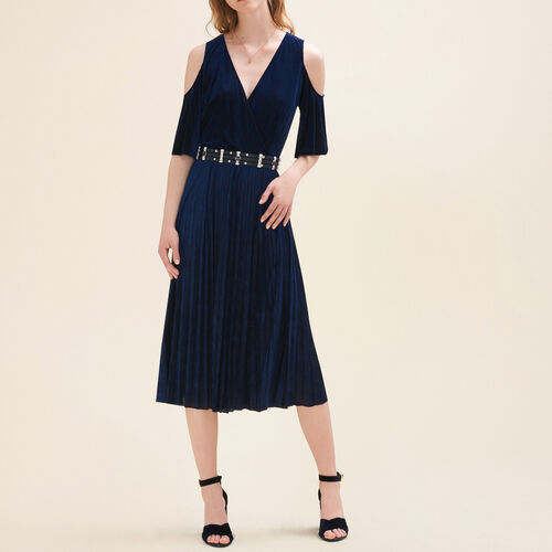 Schulterfreies Faltenkleid : Kleider farbe Nachtblau