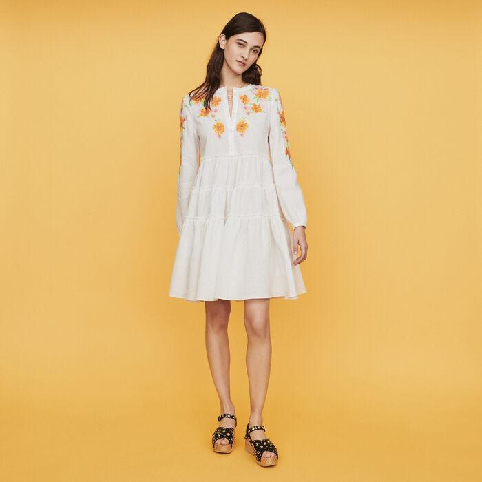 Kleid mit Stickreien aus Leinen : Kleider farbe Weiss