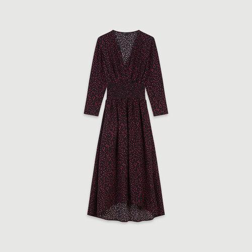 Gesmocktes Kleid aus bedrucktem Krepp : Kleider farbe Schwarz