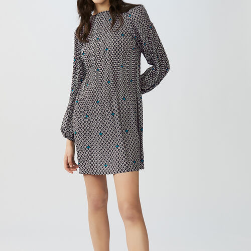Pleated printed dress : Kleider farbe IMPRIME