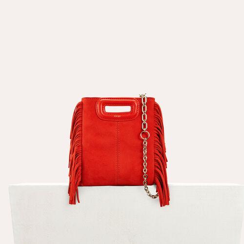 M mini Tasche aus veloursleder : Leder farbe Rot