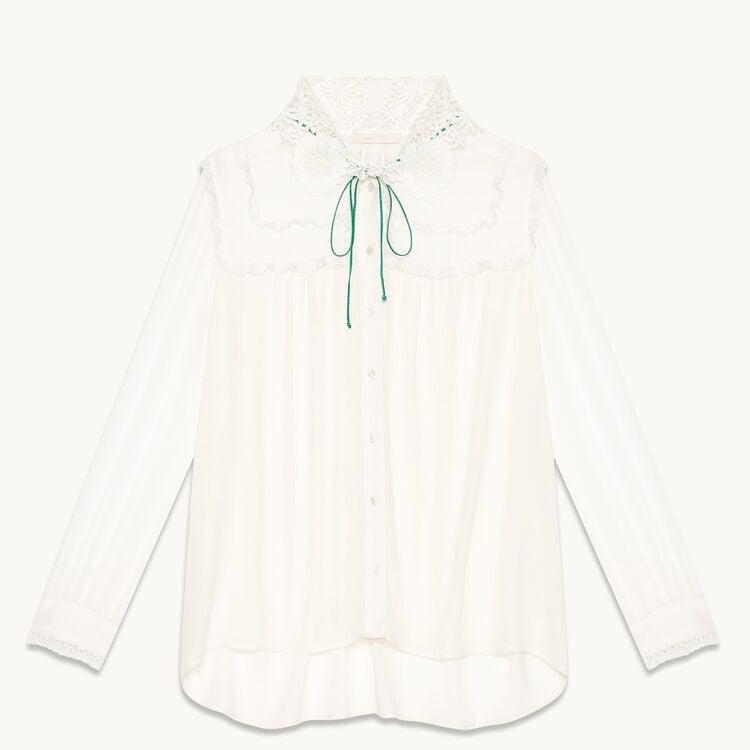 Fließende Bluse mit besticktem Kragen - Tops - MAJE