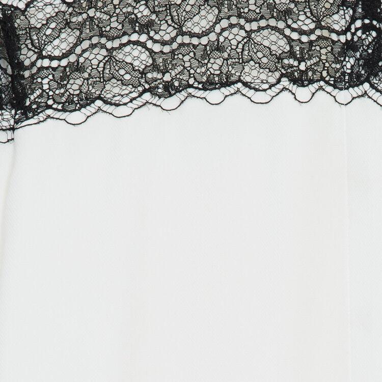 Bluse mit Spitze : Hemden farbe Ecru