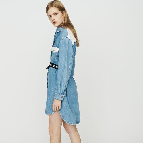 Hemdkleid aus Denim : Kleider farbe Denim