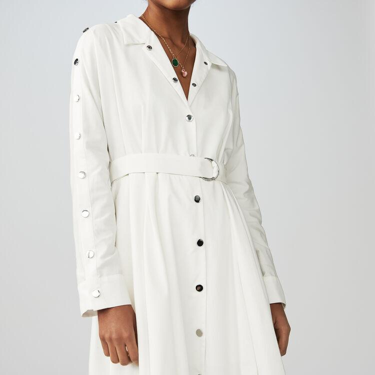 Langes Hemdkleid mit Stickerei : Kleider farbe Weiss