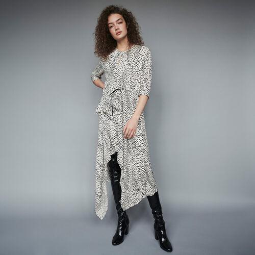 Asymmetrisches Kleid mit Jacquard Print : Winter Kollektion farbe Weiss