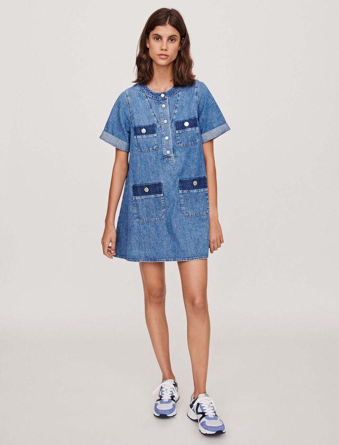 Kurzärmliges Mini Jeanskleid - Kleider - MAJE