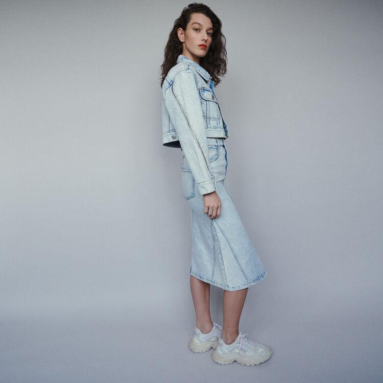 Langer Jeansrock im Used-Look : Röcke & Shorts farbe Denim
