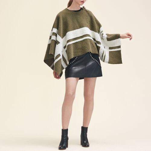 Poncho aus Materialmix : Schals & Rundschals farbe Khaki