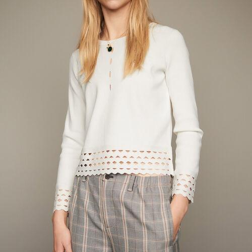 Pullover mit Ajourdetails : Strickwaren farbe Schwarz