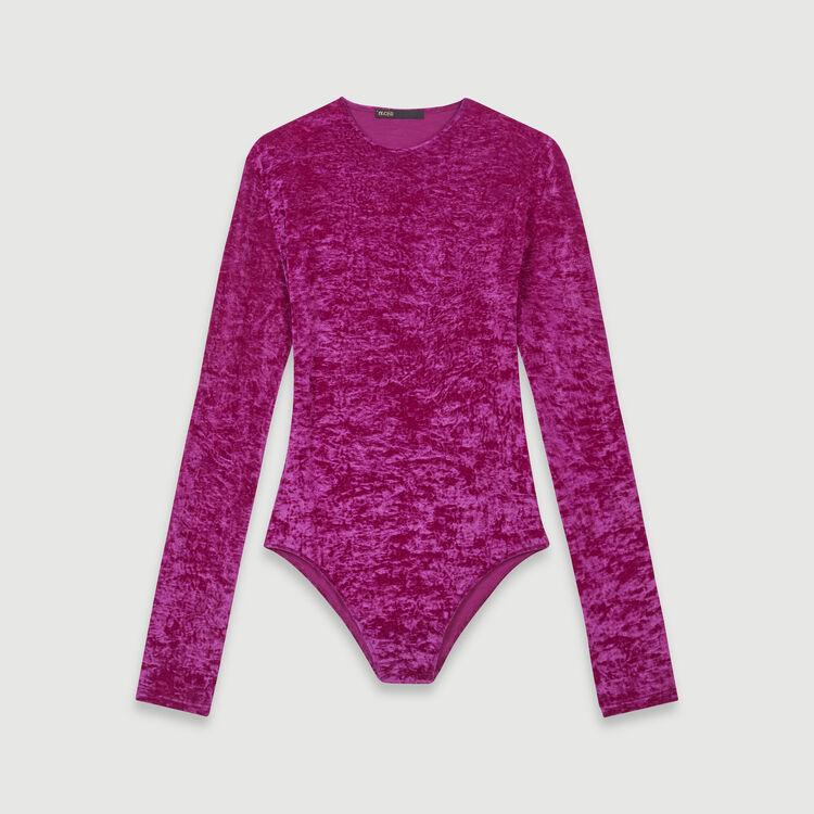 Body aus zerknittertem Velour : T-Shirts farbe Rosa