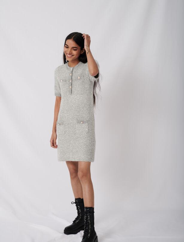 마쥬 원피스 MAJE Lurex-Kleid mit Zierknoepfen,Grau