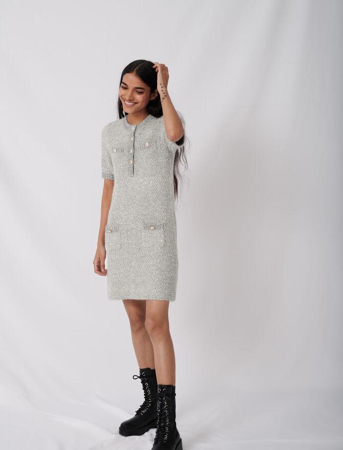 Lurex-Kleid mit Zierknöpfen - Kleider - MAJE
