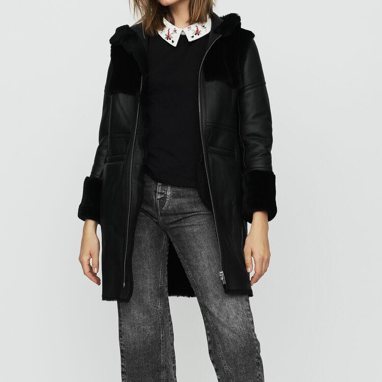 Lange Wollhaut : Mäntel farbe Schwarz