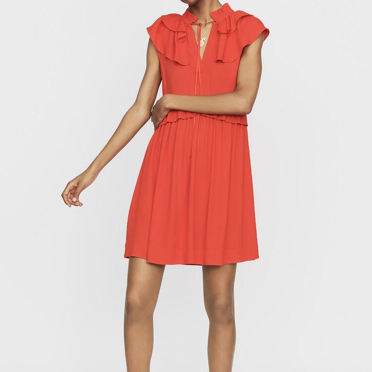 Ärmelloses Krepp-Kleid : Kleider farbe ROUGE