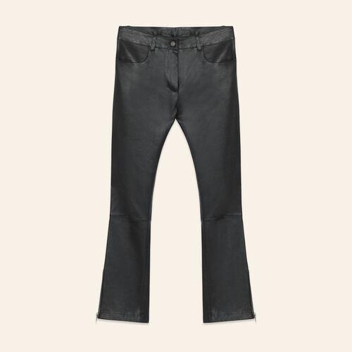 Lederhose mit Reißverschlussdetails : Pantalons & Jeans farbe Schwarz