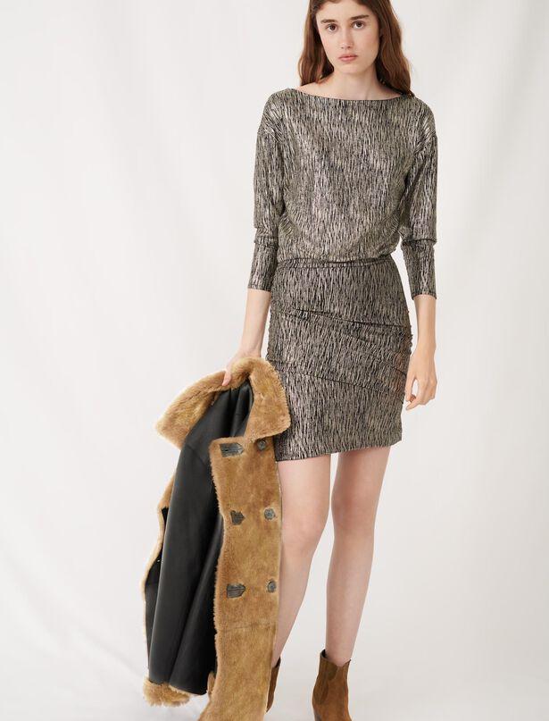 마쥬 원피스 MAJE Goldfarbenes Kleid mit Folienprint,Dore