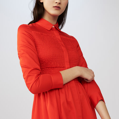 Long blouse dress with smocked : Kleider farbe Rot
