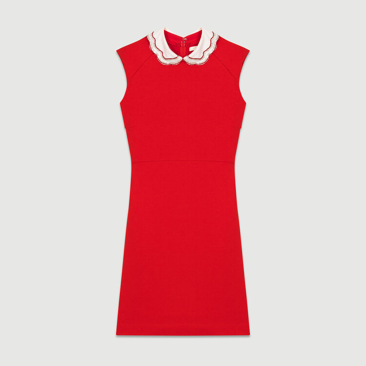 Lace pleated dress : Kleider farbe ROUGE