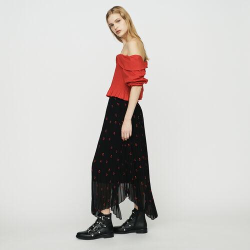 Langer Plissee Rock mit Stickereien : Röcke & Shorts farbe SCHWARZ