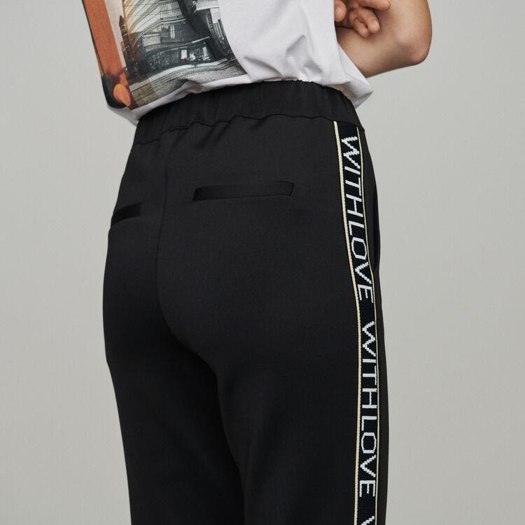Elastische Hose mit Bändern : Hosen farbe Schwarz
