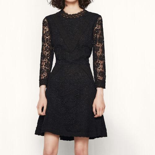 Kurzes Kleid aus Gipürespitze : Kleider farbe Schwarz
