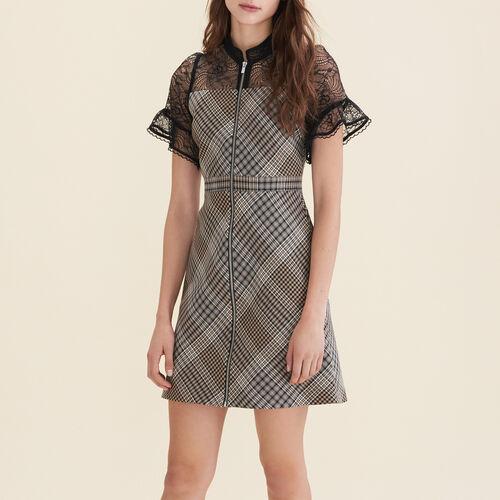 Kurzes Kleid aus zwei Materialien : Kleider farbe Jacquard
