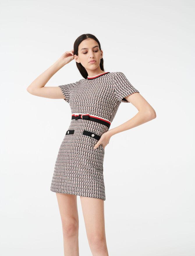 Tweed-Kleid mit Lurex und Streifen - Kleider - MAJE