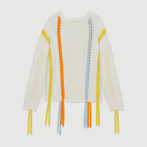 Strickpullover mit bunten Schleifen : Pullover & Strickjacken farbe Ecru