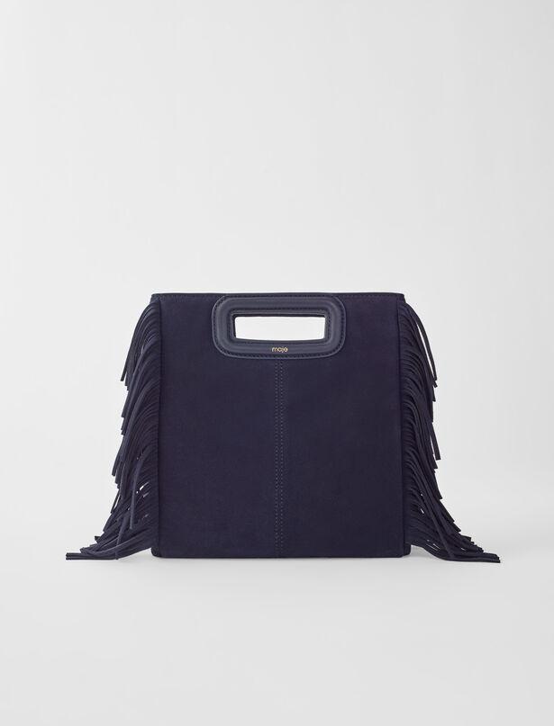 마쥬 M백 MAJE 119msuede Suede M bag,Marineblau