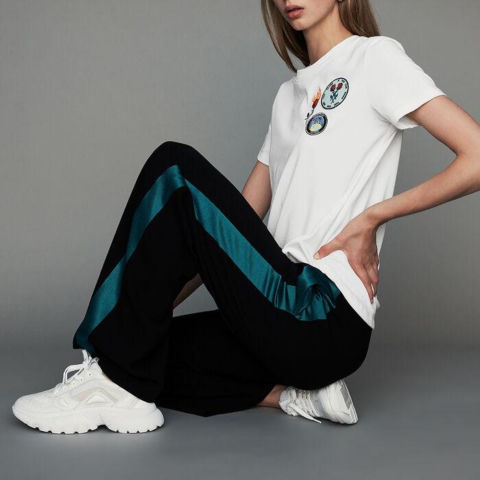 Zweifarbige weite Hose : Neue Kollektion farbe Schwarz