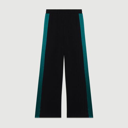 Zweifarbige weite Hose : Hosen farbe Schwarz