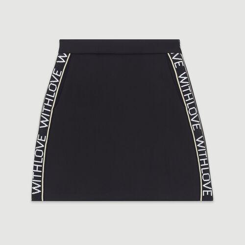 Kurzer Rock mit Bändern mit Aufschrift : Röcke & Shorts farbe Schwarz
