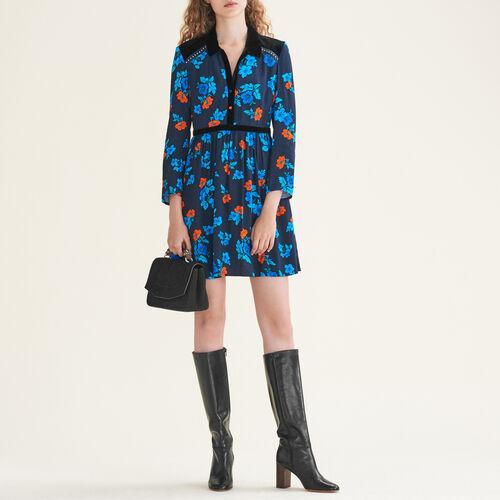 Plissiertes Kleid mit Print - Kleider - MAJE