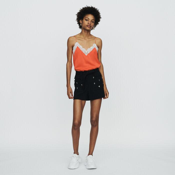 Krepp Shorts mit Palmen Schmuck : Röcke & Shorts farbe Schwarz