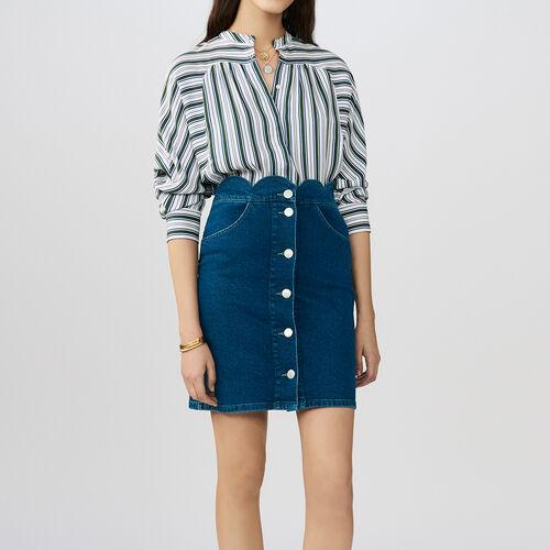 Denim shirt with fancy cutting : Röcke & Shorts farbe Denim
