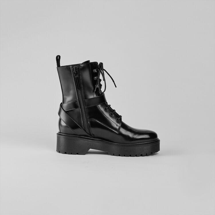 Sandalen mit Absatz aus Velour : Stiefel & Boots farbe Schwarz