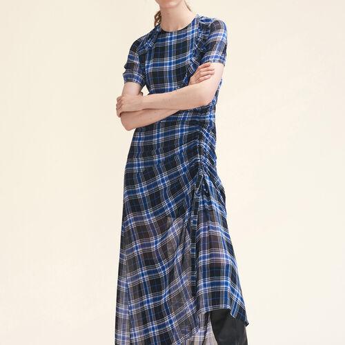 Langes Kleid mit Karomuster : Kleider farbe IMPRIME