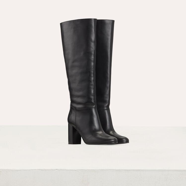 Lederstiefel mit Absatz : Stiefel farbe Schwarz