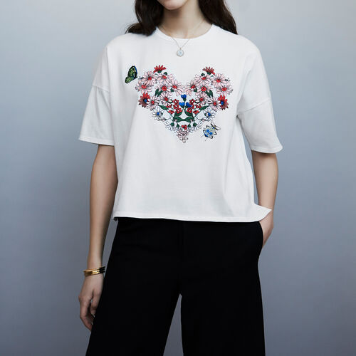 Embroidered t-shirt  : T-Shirts farbe Weiss