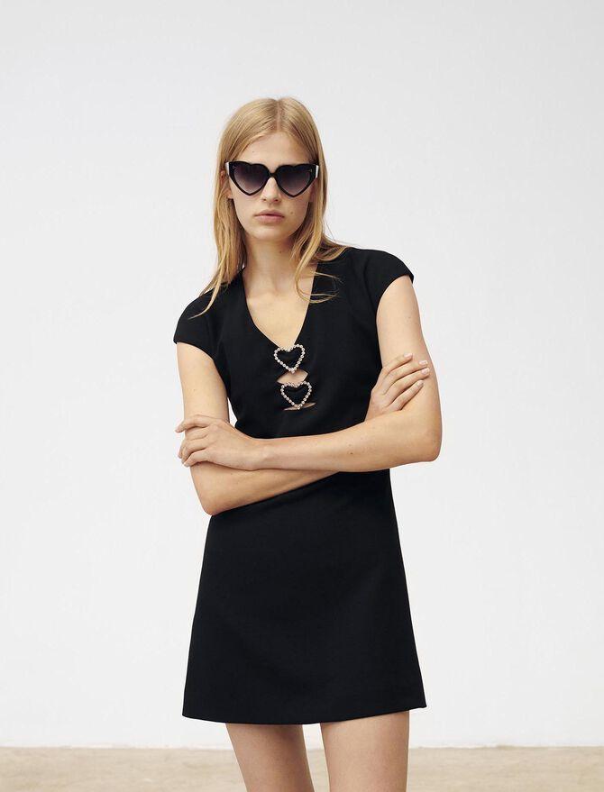 Kleid mit Strass- und Herzbesatz - Kleider - MAJE