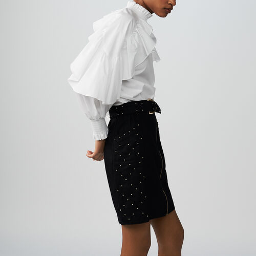 Kurzer Rock mit Doppelknöpfen : Röcke & Shorts farbe BLEU NUIT