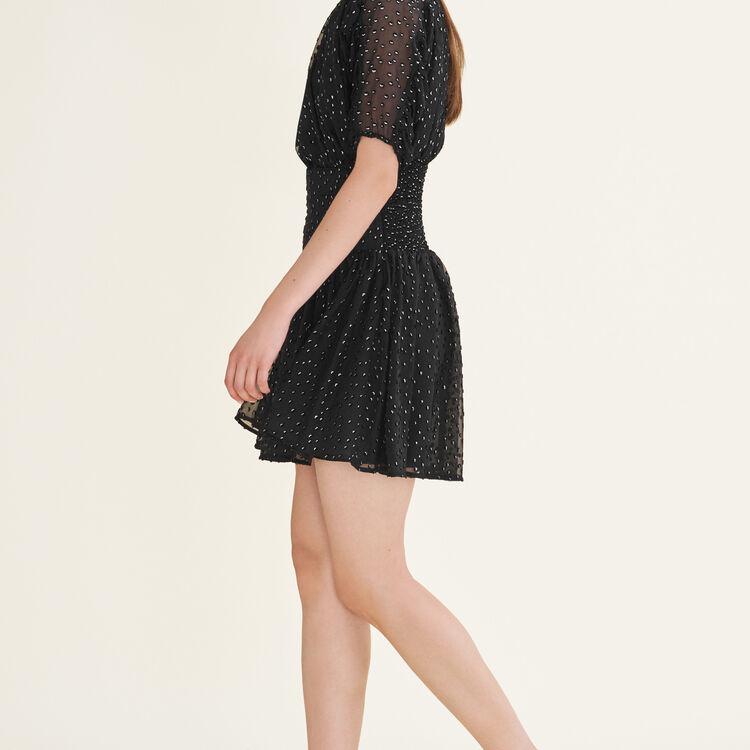 Kleid aus beflockter Seide : Robes farbe Schwarz
