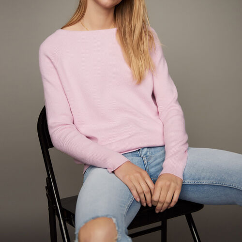 Pullover mit Rücken-Dekolleté : Strickwaren farbe LILA