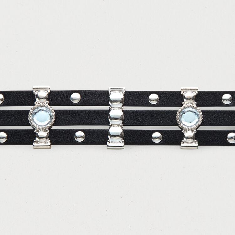 Ledergürtel mit Nieten und Strass : Gürtel farbe Schwarz