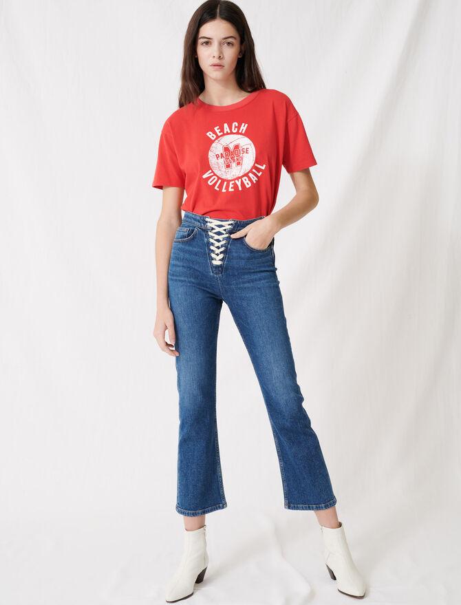 Denimblaue Jeans mit Schnürverschluss - Hosen & Jeans - MAJE