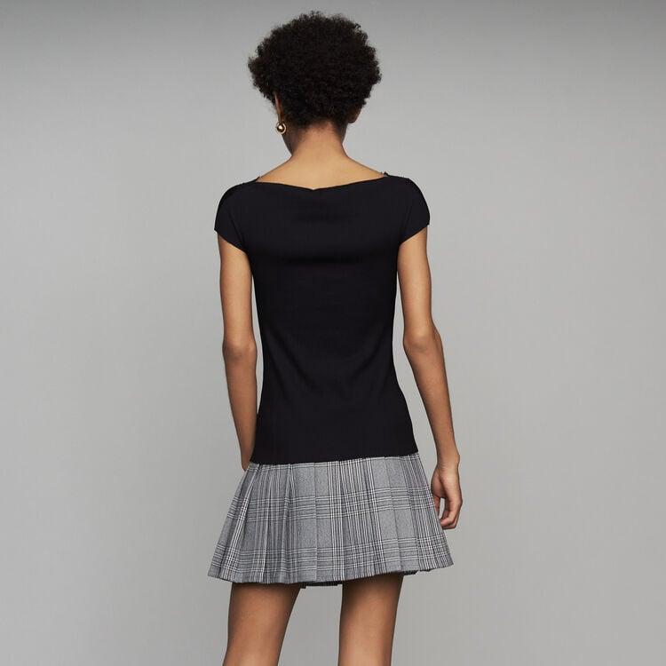 Plissee-Top mit Spitze : Alles einsehen farbe Schwarz