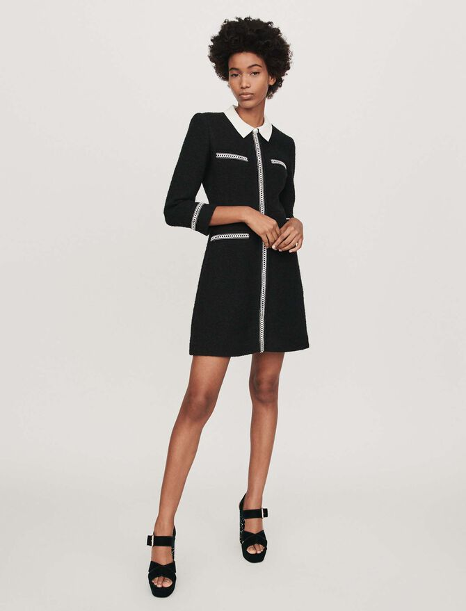 Kleid mit konstrastierendem Tweed-Effekt - Kleider - MAJE
