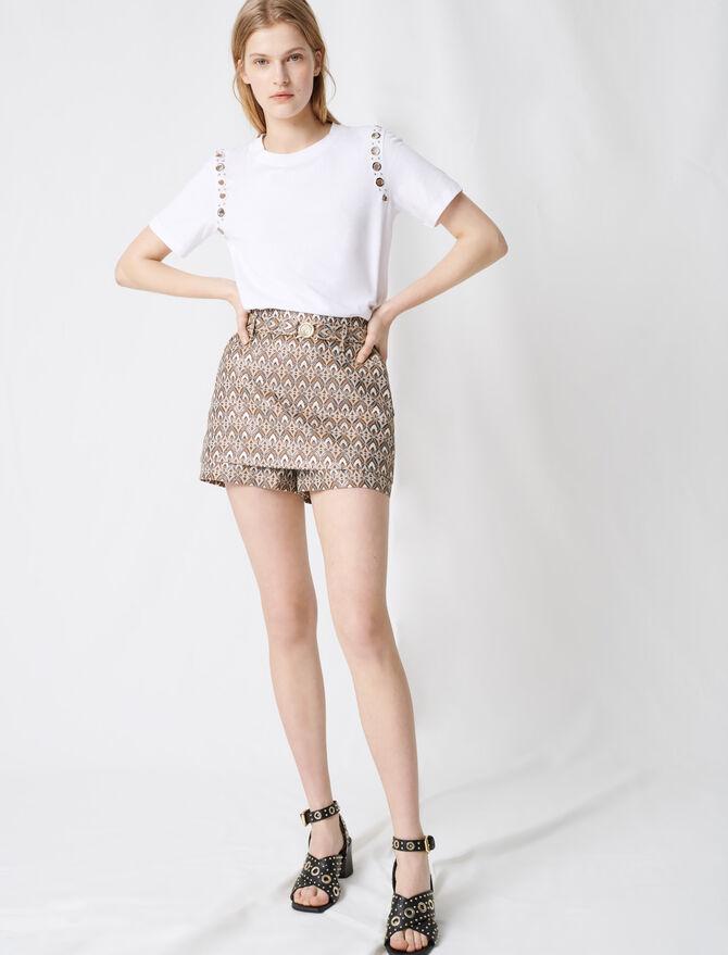 Jacquard-Shorts mit abnehmbarem Gürtel - Röcke & Shorts - MAJE